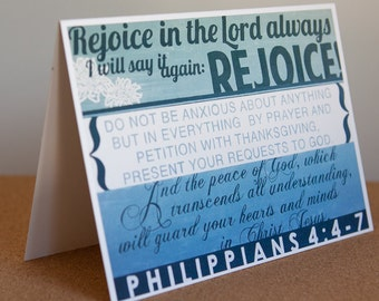Rejoice in the Lord : 5x7 blank card
