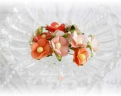 Mulberry Flowers~Sweetheart  Blossoms Oranges~ Set of 10 for Scrapbooking, Cardmaking, Altered Art, Wedding, Mini Album