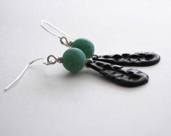 Teal Earrings, Stone Bead Earrings, Metal Earrings, Beaded Earrings, Long Earrings
