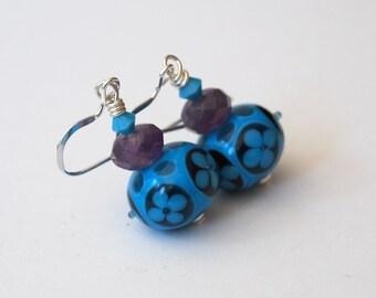 Blue Flower Earrings, Lampwork Glass Earrings, Navy Blue Earrings, Beaded Earrings, Modern Flower Earrings
