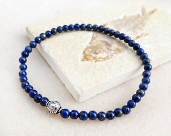 Men's Blue Lapis Lazuli Bracelet, Natural Stones, Minimalist, Sterling, Zen Yoga Meditation, Handmade Jewelry for Men, Bracelets for Man