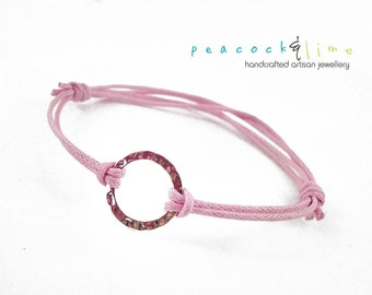 Karma Circle Wish bracelet // light pink waxed cotton // sterling silver circle wish bracelet // handmade // friendship bracelet