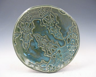 Medium Forest Green Handmade Ceramic Spoon Rest or Jewelry Bowl
