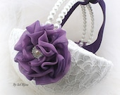 Flower Girl Basket, White, Purple, Plum, Bridal, Wedding, Lace, Pearl Handle, Crystals, Round, Elegant Wedding, Vintage-Inspired, Gatsby