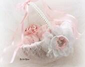 Flower Girl Basket, White, Pink, Blush, Elegant Wedding, Vintage, Elegant, Shabby Chic, Pearl Handle, Lace Basket, Burlap, Crystals, Pearls