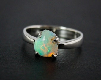 50% OFF SALE - Australian Opal Ring - Milky White, Green - Silver
