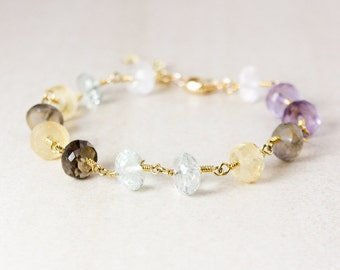 Amethyst Beaded Charm Bracelet – Choose Your Charm – Multi Gemstones