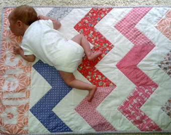 Chevron Personalized Bespoke Baby Quilt Boy or Girl