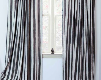 "Window Curtains Charcoal brown stripe - ONE panel 57"" x 84"" / 96"" Block Printed with Natural dyes Cotton Curtain Window Treatment panel"