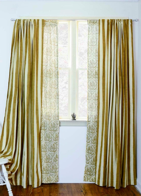 Au pair d 39 or mix match stripe and toile window for Mix and match curtains colors