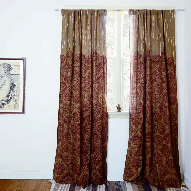 Bohemian Curtains Brown Window Curtains Block Printed Bedroom