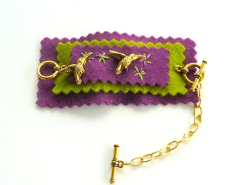 Bracelet - Felt - Charms - HUMMINGBIRD - Hand Made - Embroidered - UNIQUE - Gift - Tween - Spring Summer - Purple - Chartreuse - Gold Metal