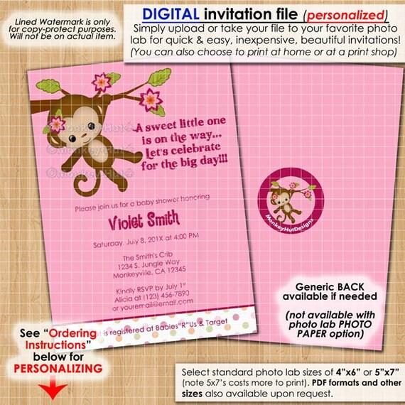 Girls Monkey Baby Shower Invitations Miss Monkey Pink Monkeys