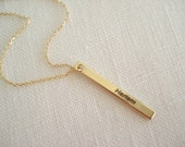 Personalized thin vertical gold Bar Necklace...Engraved name, initial, nickname, Roman numeral, bridesmaid gift, sorority gift