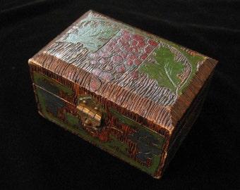 Antique Pyrography Folk Art Box, Hidden Compartment, 1914 Dated