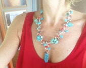 Statement Necklace Turquoise Red Wire Wrapped