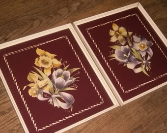 Beautiful  Lilies and Daffodils on Deep Purple Background Framed