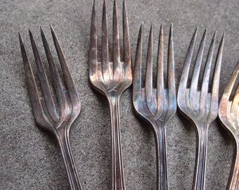 Vintage Silver Plated Forks Salad Luncheon Instant Collection Set Six Patina Tarnish Repurposing Supplies