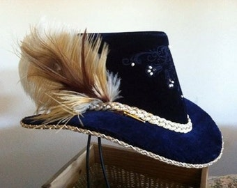 Silk Velvet Slanted Riding Hat,  w/ small feather cluster, Renaissance, Elizabethan  (MADE TO ORDER)