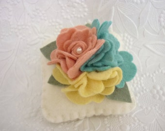 Felt Flower Pincushion Wool Felted Pin Keep Aqua Yellow Mauve Garden Quilt Sewing