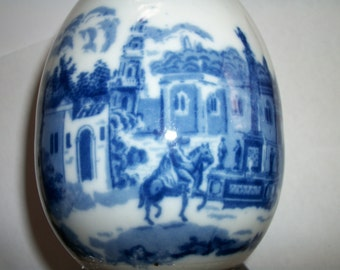 Porcelain  Egg Delft Style Blue  white w wood stand Oriental Asian HAndpaited Half Price Sale  Sale