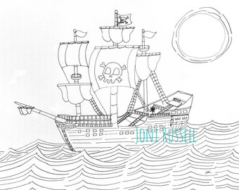 Pirate Ship, coloring page