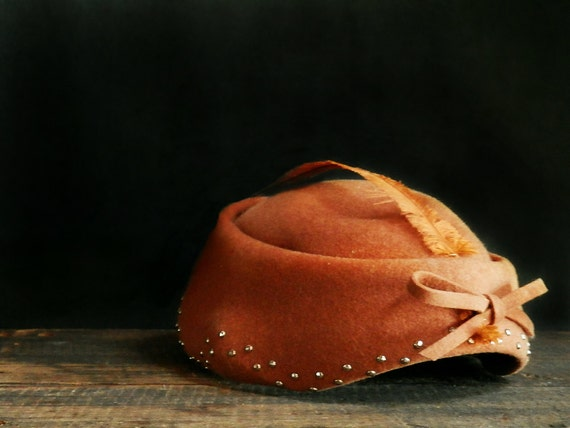 Brown Wool Hat, Glenover Henry Pollak, Feather Hat, Bow Detail, Vintage Fashion, Victorian Fashion