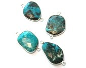 Turquoise Bezel Connector // Faceted Gemstone  Pendant // 925 Sterling Silver Plated Setting // Craft Jewellry Supply