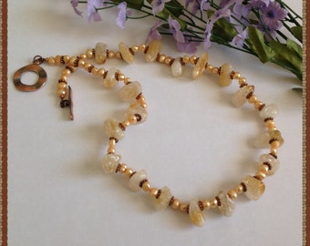 Citrine Necklace Set, Citrine and Pearl Necklace Set, Golden Citrine Necklace, Semi-precious Citrine Necklace Set