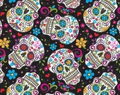 Skulls Sugar Day Of The Dead Flowers On Black Background .... Cotton Fabric....  Fat Quarter