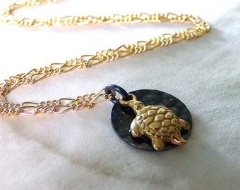 Turtle Necklace, Gold Turtle Charm Necklace, Gold Necklace, Gold Black Necklace, Turtle Charm, Simple - Little Gold Turtle