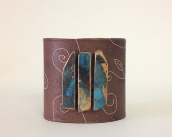 """leather cuff bracelet  - soft brown leather with trio of gilded ocean jasper - 2.5"""" wide"""
