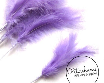 6 Stems of Wired Fluffy Marabou Feathers for Fascinators & Wedding Bouquets (18 feathers) - Lilac Purple