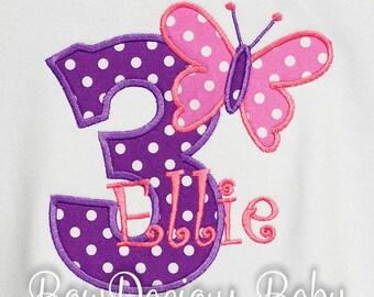 Butterfly Birthday Shirt, Girls Birthday Shirt, Personalized Birthday Shirt, Monogrammed, Custom Colors,Shirt, Tank, Bodysuit, Romper