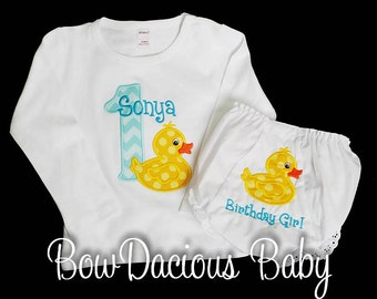 Duck Birthday Set, Rubber Duck First Birthday Outfit, Birthday Shirt and Bloomers, Custom Birthday Outfit, Personalized Birthday Outfit