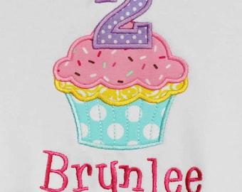 Cupcake Birthday Shirt, Girls Birthday Shirt, Personalized Birthday Shirt, Any Age, Custom Fabrics and Font