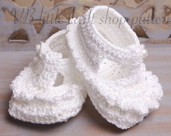 White crochet Christening booties pattern. Instant PDF download!