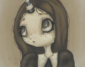 unicorn girl fantasy lowbrow gothic fine art pop surreal print- Hazel