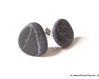 Mermaid Post Earrings - STONES - Organic Sea Pebbles Earrings with white Genuine Natural Amalfi Sea Pebbles / recycle / reuse / nr 123