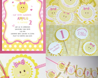 You Are My Sunshine Party Package Invitations, Thank You Cards, Favor Tags, Cupcake toppers, Birthday Banner Sunshine Birthday Party