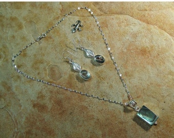 Stamped Solid 925 Sterling Silver Abalone Necklace and Earrings