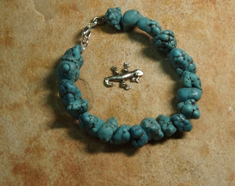 Natural Turquoise Howlite 925 Silver Bracelet