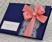 Navy Blue and Coral Wedding Guest Book Lace Custom Made in your Colors