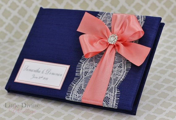 Navy And Coral Wedding Colors: Navy Blue And Coral Wedding Guest Book Lace Custom Made In