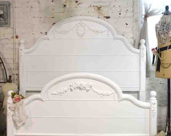 French Bed Painted Cottage Romantic French  Queen / Full Bed LGPOST