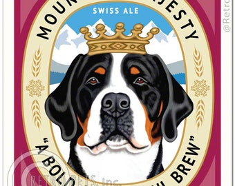 8x10 Greater Swiss Mountain Dog Art - Mountain Majesty Swiss Ale - Art print by Krista Brooks
