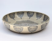 Large Flat Pottery Bowl with Blue Patterns