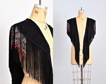 vintage 1970s fringed wrap • rock punk wrap • black denim • beaded fringe
