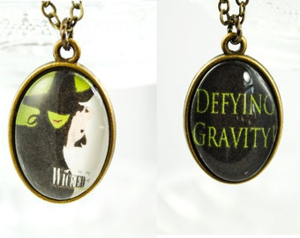 Wicked Necklace - Broadway Jewelry - Broadway Necklace - Double Sided Necklace - Defying Gravity - Double sided pendant