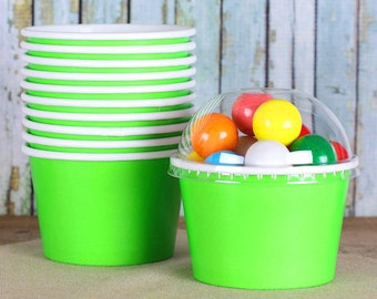 Lime Ice Cream Cupswith Lids, Green Sundae Cups, Large Brownie Sundae Cups, Fruit Cups, Candy Cups, Popcorn Cups, Treat Cups (8oz - 18 ct)
